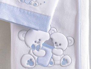 Κουβέρτα Πικέ Κούνιας Rythmos Cuddles Ciel 585