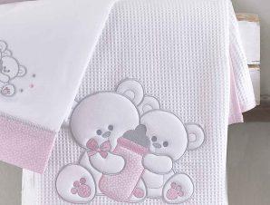 Κουβέρτα Πικέ Κούνιας Rythmos Cuddles Pink 585