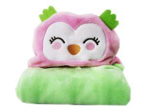 Κουβέρτα Fleece Με Κουκούλα Morven Κουκουβάγια Ροζ 2145