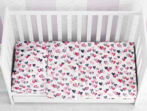 Παπλωματοθήκη Κούνιας Dimcol Hearts Grey-Pink 12
