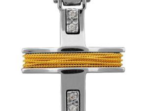 Σταυρός 14Κ από Χρυσό και Λευκόχρυσο SVK2066