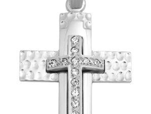 Σταυρός 14Κ από Λευκόχρυσο με Ζιργκόν SIO51211
