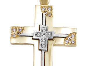 Σταυρός 14Κ από Χρυσό & Λευκόχρυσο με Ζιργκόν SIO51711