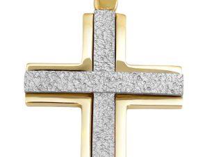 Σταυρός 14Κ από Λευκόχρυσο και Χρυσό SIO52311
