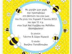 BA5043 Προσκλητήριο Βάπτισης Μελισσούλες