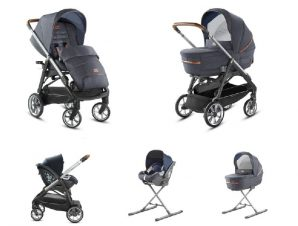 System Aptica Quattro Indigo Denim Full Kit with car seat Cab