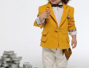 "Baby u Rock Βαπτιστικό Κουστουμάκι ""Φίλωνας"" Μουσταρδί-Εκρού B04"