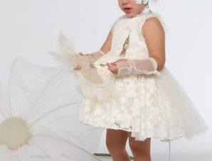 "Baby u Rock Φόρεμα Βάπτισης ""Ιάνθη"" Υπόλευκο G07B"
