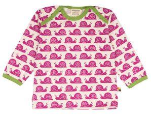 Loud+Proud Μακρυμάνικη Μπλούζα από Οργανικό Βαμβάκι με Σαλιγκάρια Φούξια 18-24 μηνών